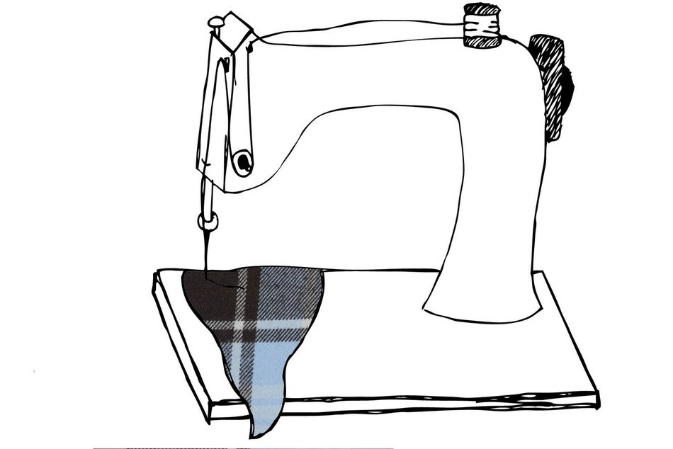 black and white drawing of a sewing machine