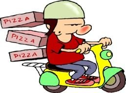 Cartoon pizza delivery clipart