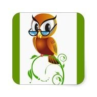 Lechuza Vector Clipart Cartoon Owl Teacher Smart Square Sticker