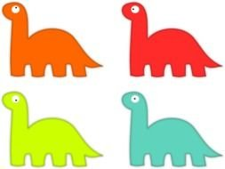 multi-colored dinosaurs as a graphic illustration