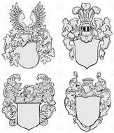 painted four gray coats of arms