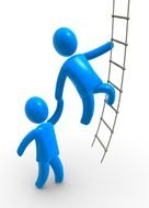 two blue men climb the rope ladder