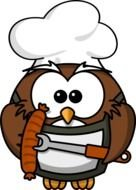 Funny cartoon Owl holds sausage on fork
