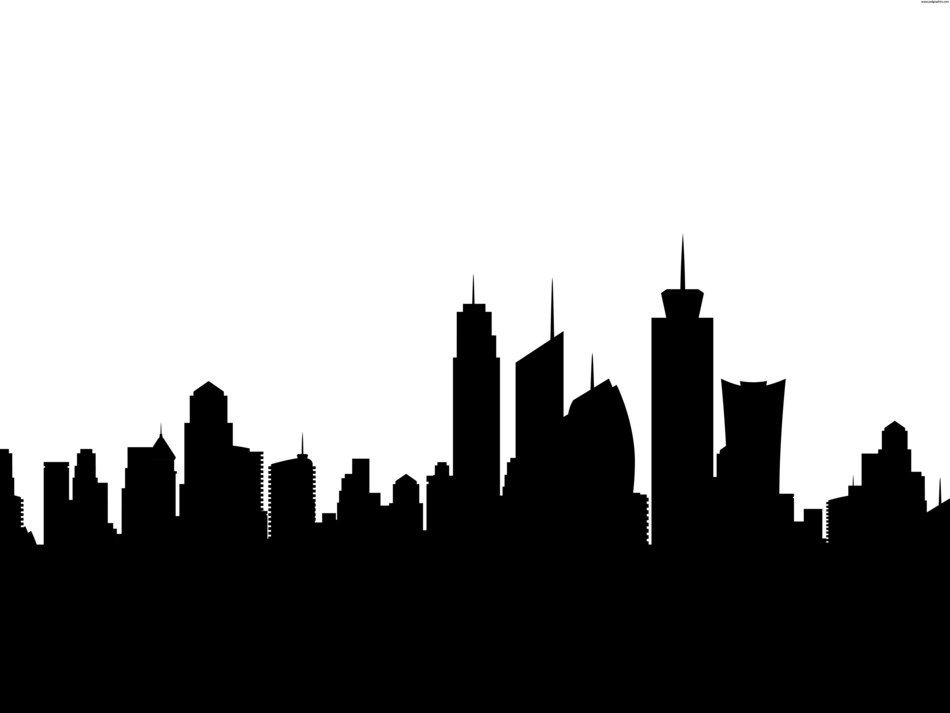 City Skyline Silhouette black and white