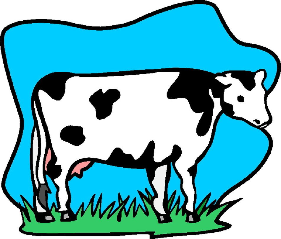 clipart of the Cow on a field