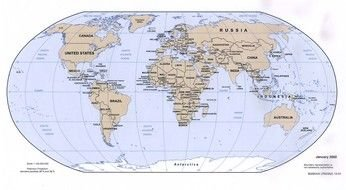 World Map Geography drawing