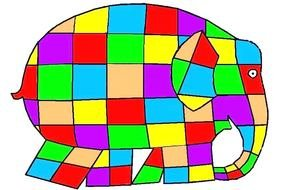 colored square elephant silhouette