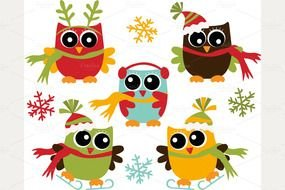 Clip art of Christmas Owls
