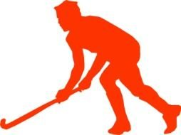 red silhouette of an hockey player