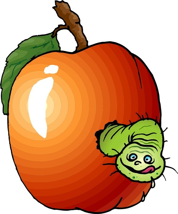 clipart of the worm is in an apple