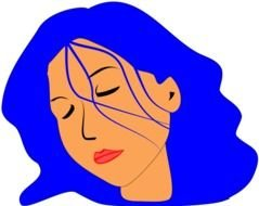 Clip art of Woman with blue hair is Sleeping