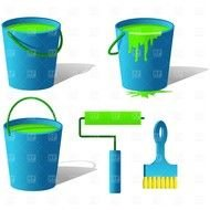 buckets with green paint next to the brush and roller