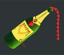 Champagne Bottle with red hearts inside, drawing