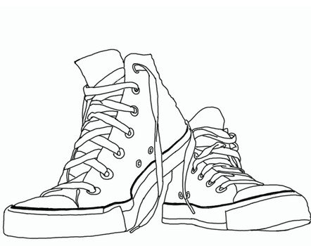 Black and white drawing of the Converse shoes clipart