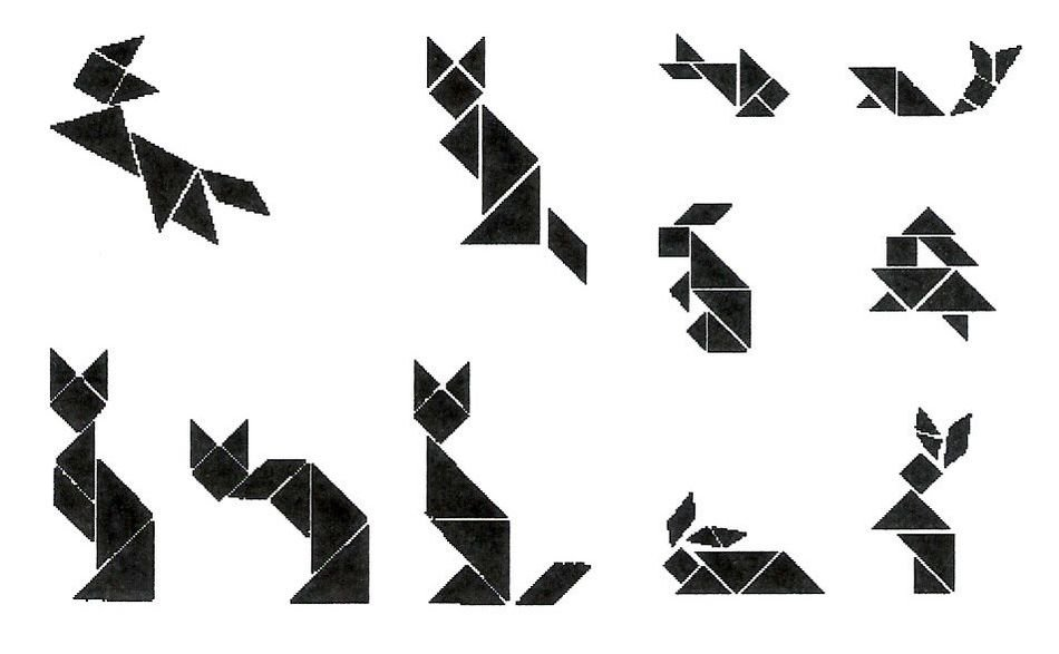 Black and white drawing of the paper animals clipart