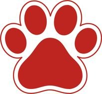 Red and white Paw Print, Clip Art