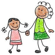 Colorful drawing of the Mother with the Daughter clipart