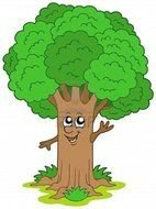 cartoon happy anthropomorphic tree