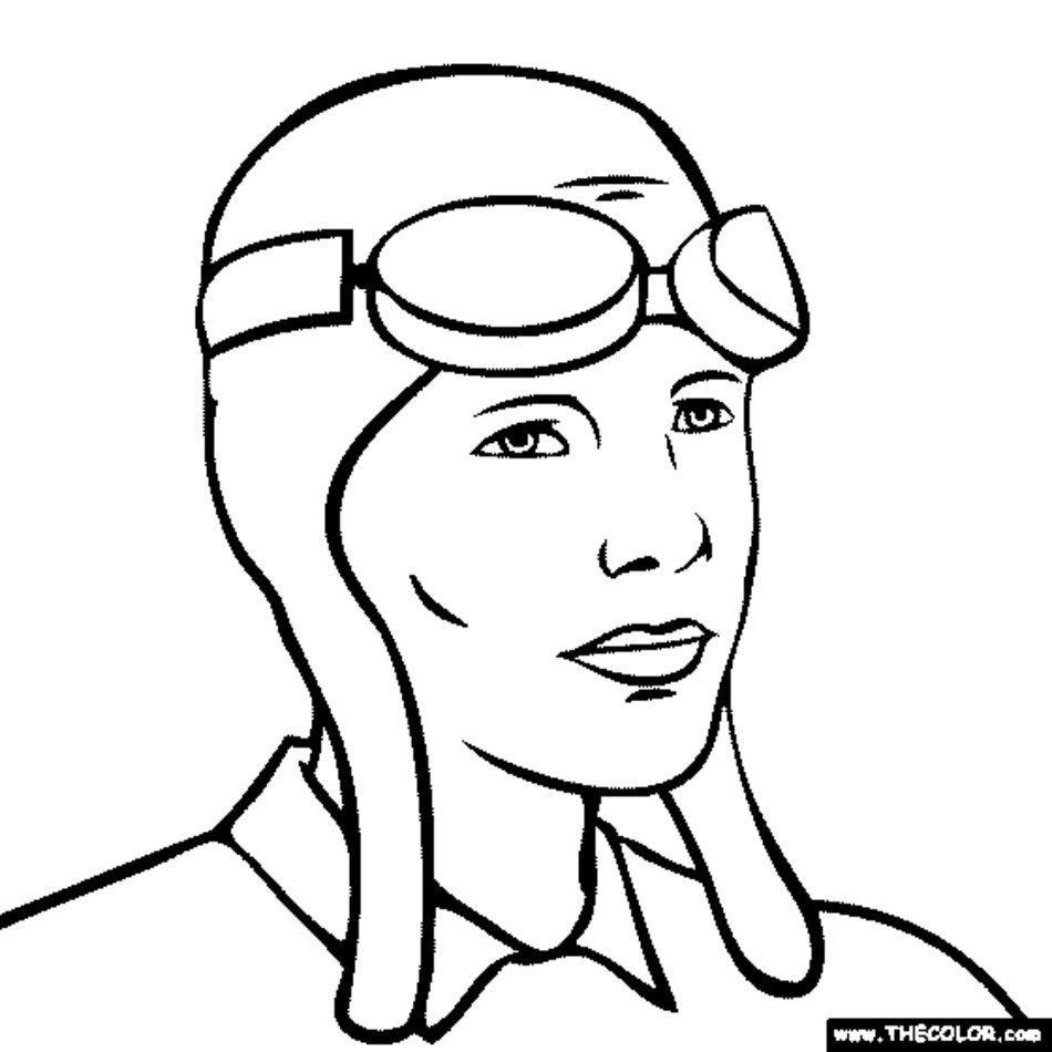 Amelia Earhart Coloring Pages Free Image