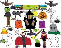 Different Halloween Decorations clipart
