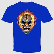 blue t-shirt with a skull