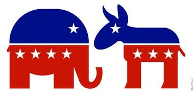 Republican Elephant And Democratic Donkey drawing