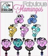 Colorful 'Fabulous Flamingos' clipart