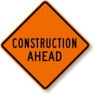 road construction ahead sign N2