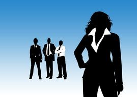 silhouettes of four businessmen