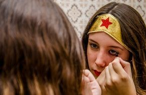 Girl doing a cosplay of wonder woman