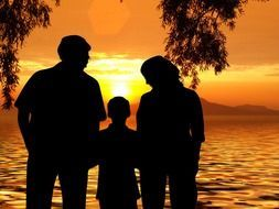 family at the sunset