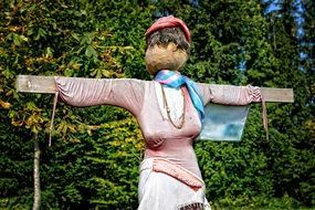 figure of scarecrow woman of straw