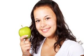 Portrait of Girl eating apple