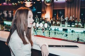 young beauty girl model in the bar