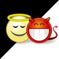 Clipart of angel and devil emojis