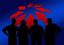 silhouettes of a team and red arrows