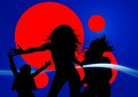silhouettes of girls in a nightclub