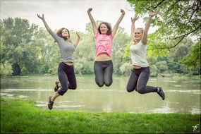 jumping happy girls