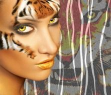 computer portrait of a girl with tiger make-up