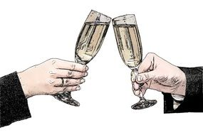 glasses with champagne in a female and male hand