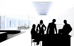 man woman in office silhouette drawing