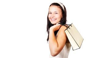 bag buying carry customer white background