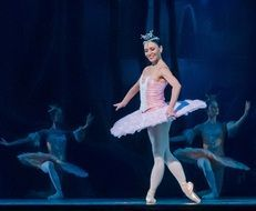 ballerina is performing on stage