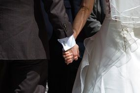 getting married couple is holding hands