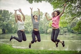 jumping happy people female woman