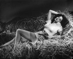 black and white photo of jane russell in the manger