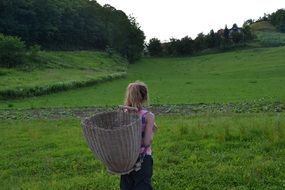 woman with basket thinking