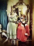 mannequins in a retro fashion store
