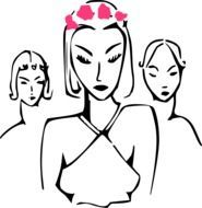 Women with accessories clipart
