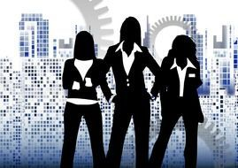 silhouettes of three business woman on skyscrapers background